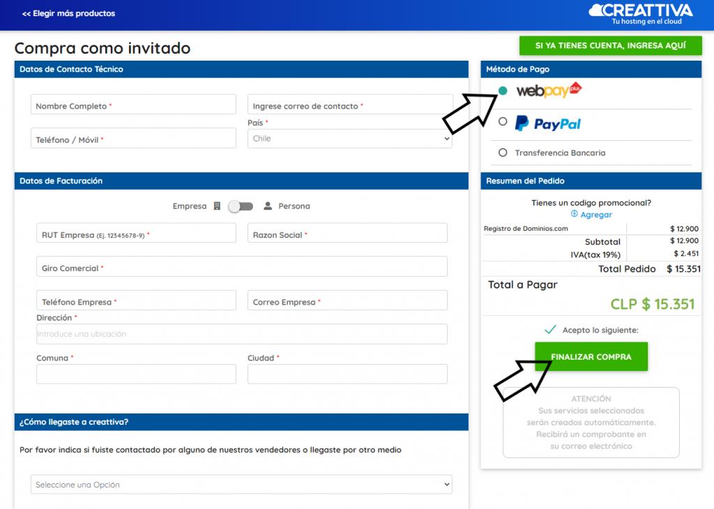 pagar dominio .com